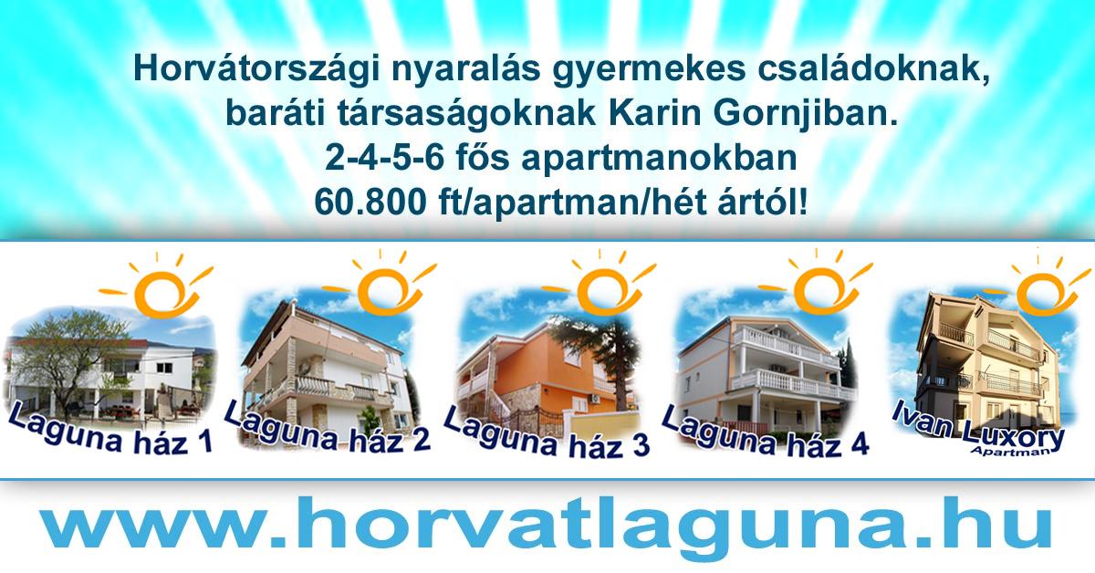 Horvátországi apartmanos nyaralás gyermekes családoknak Karinban. Nyugalomra és pihenni vágyó baráti társaságok részére új építésű 6 lakásos apartmanházunkban.